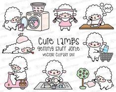 Premium Vector Clipart  Kawaii Lambs  Cute Lambs Planning