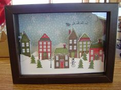 I love making shadow boxes. This one is made with the Holiday Home stamp set and coordinating framelits