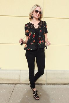 Spring outfit, florals, lace and black Paige denim