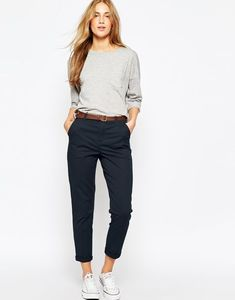 Image 1 of asos chino trousers with belt office attire women casual, smart casual outfit Casual Work Outfits, Mode Outfits, Office Outfits, Work Casual, Casual Chic, Casual Dresses, Fashion Outfits, Smart Casual, Office Attire
