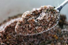 Homemade Steak Rub: 4 tbsp coarse salt, 1 1 tbsp course cracked black pepper, 1 tbsp onion powder, 1 tbsp paprika, 1/2 tbsp granulated garlic, 1/2 tbsp dried rosemary, lightly crushed, 1/2 tbsp crushed red chili flakes, 1/2 tbsp dried thyme. Simply place everything in a small bowl and mix well. (I would use less salt. ~A)