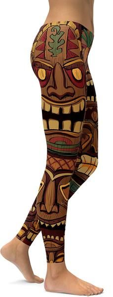 Our designer created a design filled with Tiki Masks. A typical Tiki mask is a hand-carved wooden mask that, originally was used to protect their users from evil spirits. You can wear these Hawaiian Tiki Masks Leggings pretty much anywhere and everywhere. Brown Leggings, Best Leggings, Women's Leggings, Custom Leggings, American Gas, Tiki Tattoo, Hawaii Outfits, Tiki Mask, Hawaiian Tiki