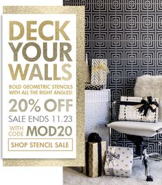 Deck your walls with bold geometric stencils with all the right angles!  SAVE 20% now through Sunday 11/23 on Modern Stencils with promo code MOD20. Hurry and shop the SALE!  www.royaldesignstudio.com/collections/modern-stencils