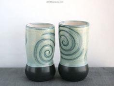 Tall Tumbler Pair, Set, Satin Spirals, Pottery https://www.etsy.com/shop/ClaraLanyiCeramics