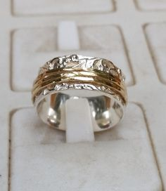 Sterling Silver hammered ring with 9 carat rose gold stripe  chunky ring  bold  statement  unisex  wedding