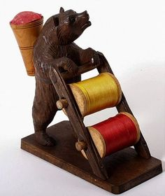 Antique Hand Carved Black Forest Bear Sewing Caddy w/Thread Spools & Pin Cushion Nice piece - we have many Black Forest pieces here at Hemswell! Sewing Caddy, Sewing Box, Sewing Kits, Sewing Tools, Sewing Hacks, Sewing Projects, Art Fil, Vintage Sewing Notions, Antique Sewing Machines