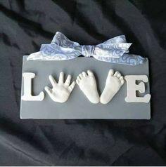 DIY hand and foot print 'love' sign