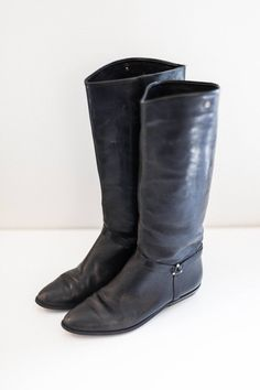 a4dda687124 Women s Etienne Aigner Tall black leather boots 7M - Hipster Leather Rocker  boots sz 7