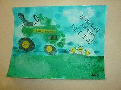 Footprint tractor. fingerprint chicks. Cute gift for Nana someday, @Christopher Andrews Smith