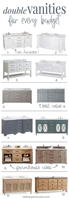 Looking for some great bathroom vanity ideas? This roundup of the best double vanities for every budget will help you spend less time shopping so you can get the bathroom of your dreams even faster! Bathroom Vanities Double Sink | Bathroom Decorating Ideas | Bathroom Remodeling Ideas | Farmhouse Bathroom | Bathroom Cabinets #bathroomidea #bathroomdesigns #bathroomdecor #bathroomremodel