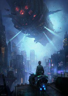 Art by Masashi Kageyama : Cyberpunk Cyberpunk City, Ville Cyberpunk, Cyberpunk Kunst, Cyberpunk Aesthetic, Futuristic City, Futuristic Architecture, Neon Aesthetic, Cyberpunk Fashion, Arte Digital Fantasy