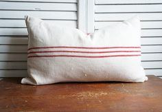 Red authentic grainsack and ticking stripe pillow by OliverandRust