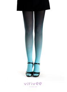 Collant Tye and Dye turquoise-noir VIrivee