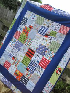 keepsake or memory quilt made from baby clothes