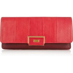 Lanvin Otylie elaphe and leather clutch (7.365 DKK) ❤ liked on Polyvore featuring bags, handbags, clutches, carteras, purses, bolsas, crimson, genuine leather purse, red leather purse and handbags clutches