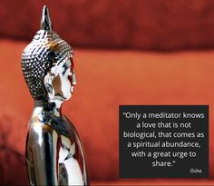 """""""Meditation will not only bring transformation to you, it will also bring transformation to your relationships. It will also bring an authentic overflow of love, and only then will you be able to see that what you used to call love was not love; it was simply lust, biological lust, based on your hormones.  Only a meditator knows a love that is not biological, that comes as a spiritual abundance, with a great urge to share – because the more you share it, the more you have it."""" ~ Osho"""