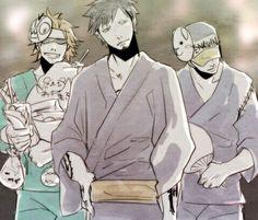 Shachi, Law, Penguin, kimono, festival, matsuri, masks, food, cool; One Piece
