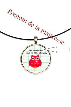 collier médaillon spécial cadeau maîtresses d'école personnalisable : Collier par zaza-la-bricole