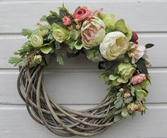 Diy Spring Wreath, Easter Wreaths, Diy Wreath, Mesh Wreaths, Holiday Wreaths, Grapevine Wreath, Deco Floral, Arte Floral, Corona Floral