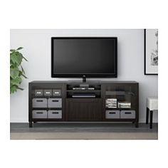 BESTÅ TV bench with drawers - Hanviken/Sindvik black-brown clear glass, drawer runner, soft-closing - IKEA