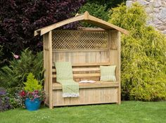 Build your own garden arbor bench from these 45 DIY Kits or use design ideas as inspiration. Pergola style, corner, lattice & under seat storage designs. Garden Arbour Seat, Arbor Bench, Garden Benches, Garden Arbours, Garden Seating, Bench Seat, Wooden Arbor, Wooden Garden, Cedar Garden