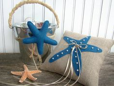 Starfish, Beach Wedding, Ring Bearer Pillow, Flower Girl Basket, Ring Bearer, Flower Girl Set, Destination Wedding, Royal Blue, Cobalt Blue