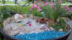 My private beach, fairy garden Miniature Beach Scene, Miniature Fairy Gardens, Wheelbarrow Garden, Gnome Garden, Beach Fairy Garden, Fairies Garden, Fairy Furniture, Small Space Gardening, Garden Projects