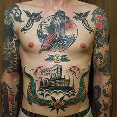 """theoldgoldanvil: """"One step closer to finish this front piece! American Style Tattoo, Epic Tattoo, Sailor Jerry, American Traditional, Great Tattoos, Chest Tattoo, Color Tattoo, Old School, Tatoos"""