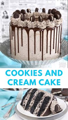 Why choose between cookies and cake when you can enjoy both together? This Cookies and Cream Cake has ultra-moist layers of devil's food cake and buttercream with lots of crushed cookies mixed right in. It's finished with a drippy chocolate ganache Oreo Cake Recipes, Best Cake Recipes, Cookie Recipes, Cake Filling Recipes, Gateau Aux Oreos, Cupcakes, Cupcake Cakes, Candy Cakes, Köstliche Desserts
