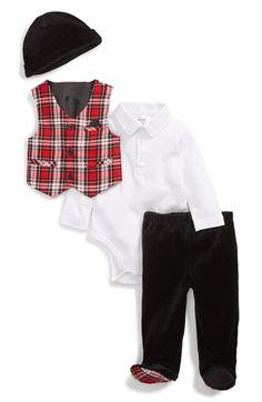 Little Me Plaid Vest, Bodysuit, Pants & Hat (Baby Boys) available at #Nordstrom