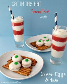 For Dr. Seuss - Strawberry layered milkshake or yogurt smoothie (Cat in the Hat) served with a Green Eggs and Ham