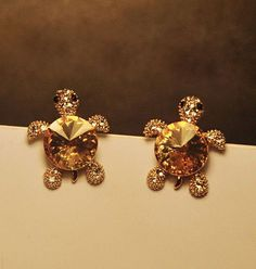 Cutie Turtle Full Rhinestone Earrings | LilyFair Jewelry, $9.99!