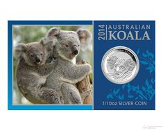 1/10 oz 2014 Australian Koala Silver Coin in Card