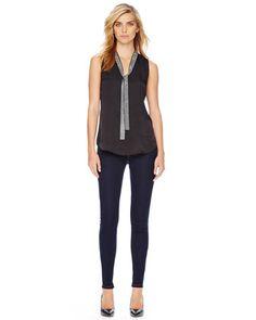 MICHAEL Michael Kors  Stud-Tie Blouse & Jet Set Legging Jeans.