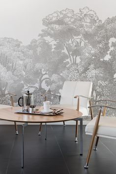 This gray version of Rebel Walls forest wallpaper, Bellewood is based on several classic canvases from which we picked only the trees from romantic Luxury Interior Design, Interior Ideas, Forest Wallpaper, Deco Floral, Inspirational Wallpapers, Decoration, Wall Murals, Rum, Luxury Homes