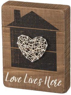 "Home ""Love Lives Here"" String Box Sign Art #stringart #ad #wallart #walldecor #homedecor #giftideas #housewarming #weddinggifts #love #home #anniversarygifts"