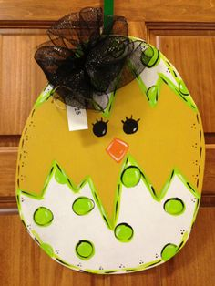 Easter Chick Egg Door Hanger Happy Easter Decor Wood Wreath Customized on Etsy, $35.00