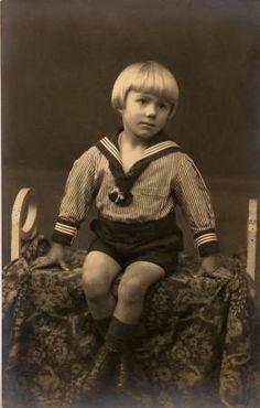 Vintage photo of a German boy in sailor suit