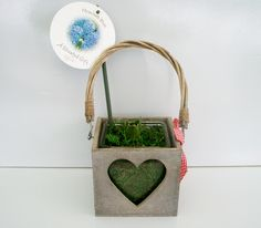 WOODEN HEART PLANTER X1 HYA (H67)
