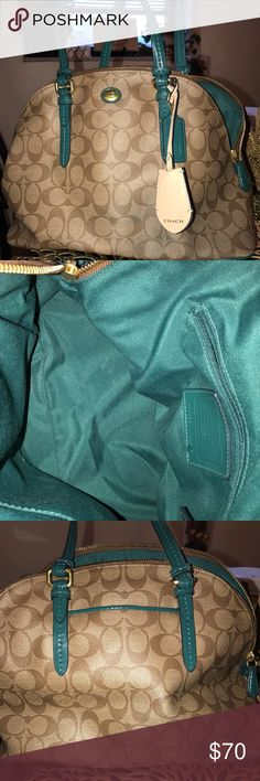 Coach Purse Brown and Green Coach Purse! Perfect condition! Coach Bags Shoulder Bags