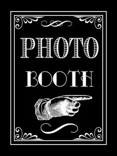 camera with tripod, nice light settings (by Joe), black back curtain? Photo Booth  - printable from  etsy