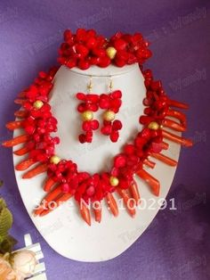 Fashion african wedding bridal necklace bracelet and earrings coral jewelry set $92.72