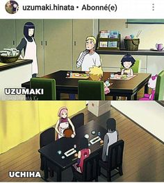 Uzumakis and Uchihas having a family dinner together ❤️❤️❤️