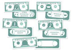 "MUSIC BUCKS Rhythm Bucks - Fun new incentives for practice, progress, and behavior! Kids will want to collect them all, or save their bucks to buy treats or earn special awards. Pass out bucks as an easy way to track scores in individual and team games! 5.5"" x 2"". Pkg. of 144"