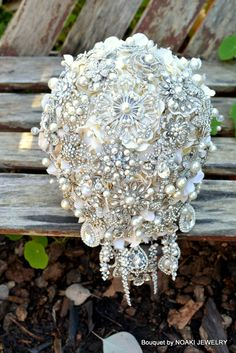 Rich pearl cascading jeweled bouquet ~ Noaki