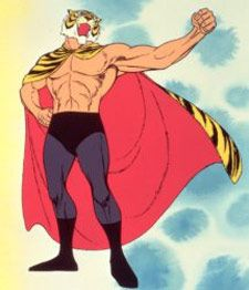"Tiger Mask was from Tiger's Cave that was secret organization, and once he'd been the villain wrestler called the ""yellow devil."" Description from filmaffinity.com. I searched for this on bing.com/images"