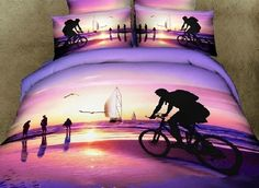 Would you rock these purple bedding set? Purple-->http://goo.gl/5UyNMM Live a better life, start with Beddinginn http://www.beddinginn.com/product/Unique-Riding-Bicycle-On-Beach-Scene-Print-4-Piece-Bedding-Sets-Duvet-Cover-Sets-10588987.html