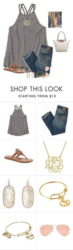 """""""QOTD  Where do you get a majority of your clothes at?"""" by raquate1232 ❤ liked on Polyvore featuring Hollister Co., American Eagle Outfitters, Tory Burch, Kendra Scott, Alex and Ani, Ray-Ban and Longchamp"""