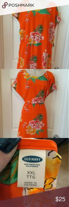 "Old Navy Dress.        ""NWT"" Pretty Hawaiian dress, vibrant colors, elastic waist, 40"" from shoulder to hem.  100% polyester. Size XXL Nice V back. Old Navy Dresses Midi"