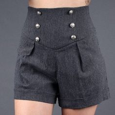 I own four pairs of high waisted shorts. They look terrible on me but I don't care. Cool Outfits, Summer Outfits, Love Fashion, Fashion Outfits, Sailor Outfits, Diy Couture, High Waisted Shorts, Short Dresses, Clothes For Women